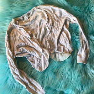 Sweaters - Light tan oatmeal ruffle shrug size small